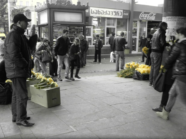 Women's Day...selling daffodils at the station.