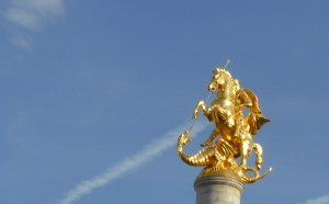 St George killing a dragon on top of his column in Liberty Square, formerly Lenin Square in Tbilisi.