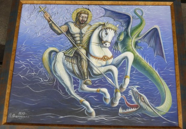 Image of ST George fighting the dragon.