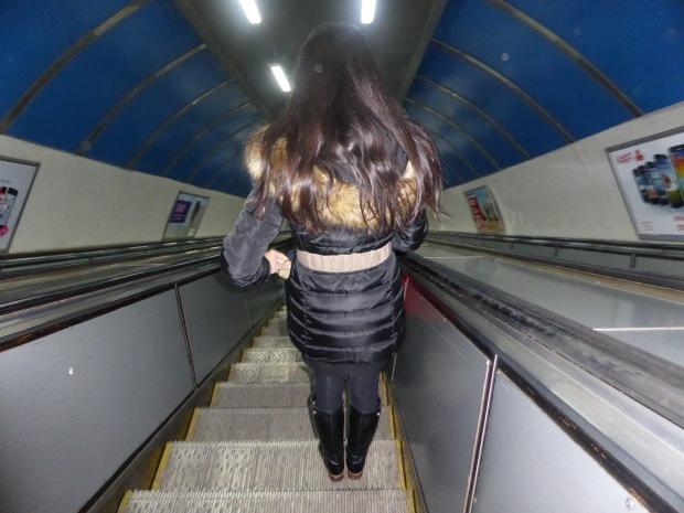 converging lines...Metro escalator descent