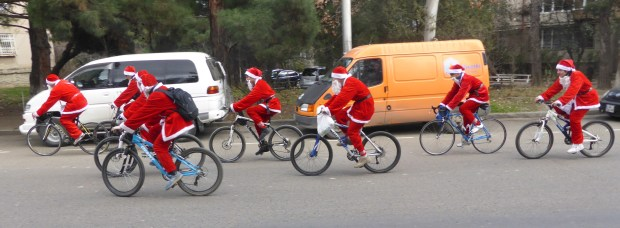 Santas cycling.