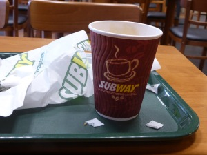 Capuccino enjoyed in Subway
