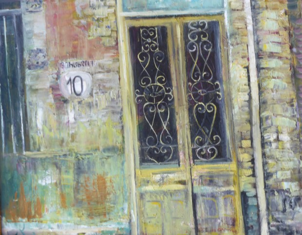 Painting of a wall and doors
