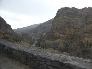 The road to Vardzia following the Upper Mtkvari river valley.