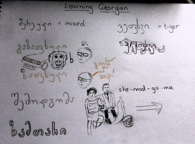 Georgian vocabulary and doodles to jog memory