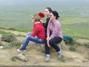 Tamuna, Natia and Khato at the top of the hill