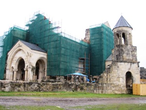 Bagrati Cathedral under construction in 2009. (from Wikipedia contributor: