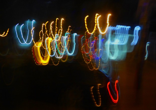 coloured lights at night