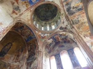 Gelati monastery, church of Virgin Mary the Blessed. Mural of Christ Pantokrator on ceiling of the central dome (12th century)