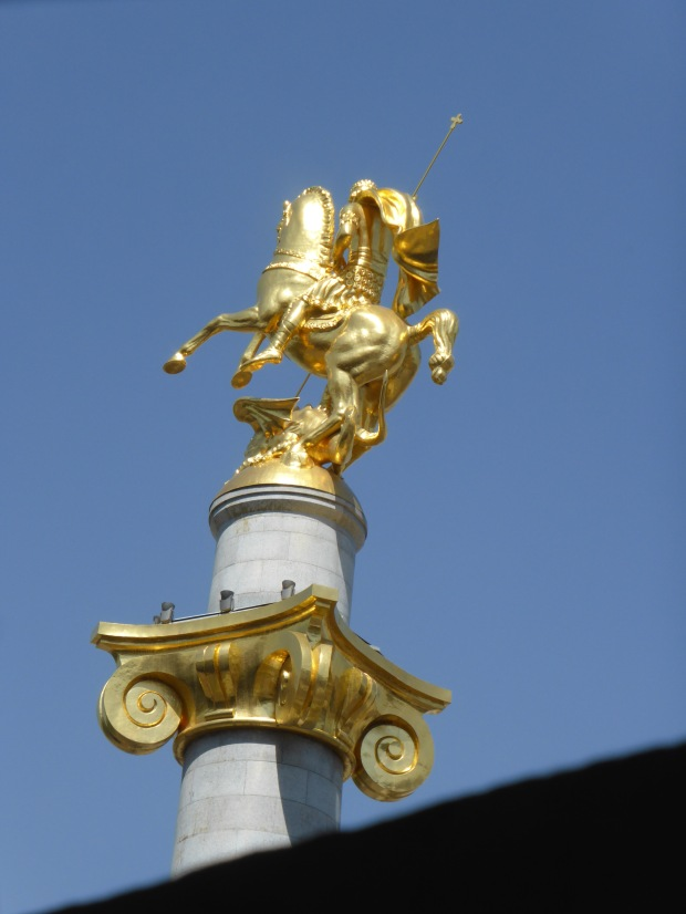 St George atop his steed in Liberty Square