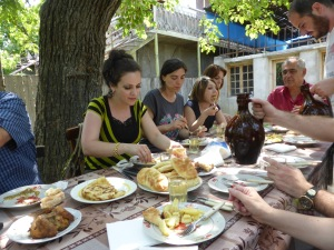 Georigan Supra al fresco, where food is abundant and the wine flows freely.