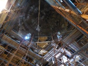Ateni Sioni interior showing extensive scaffolding