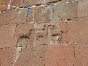 stags, hunting scene in the brickwork of the church