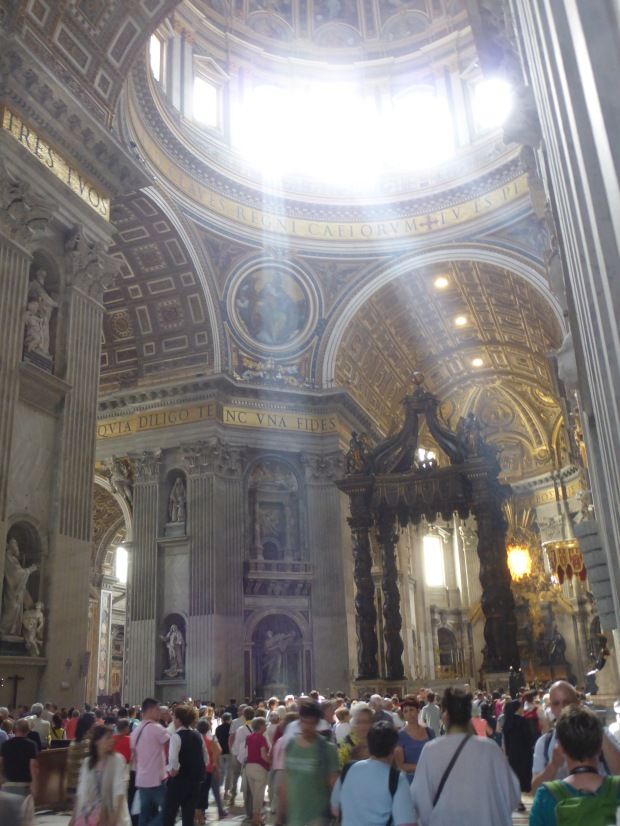 Crepuscular rays are seen in St. Peter's Basilica at certain times each day.
